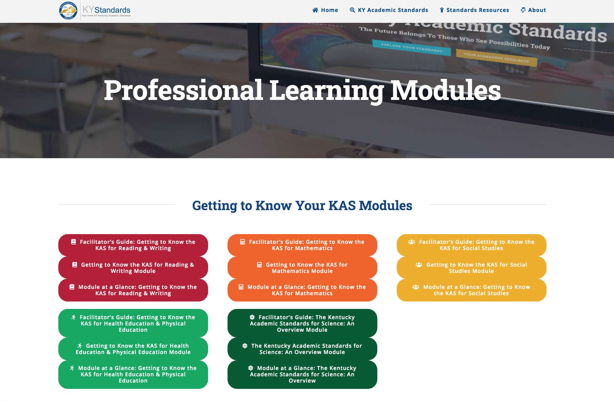 Professional Learning Modules webpage on KYstandards.org