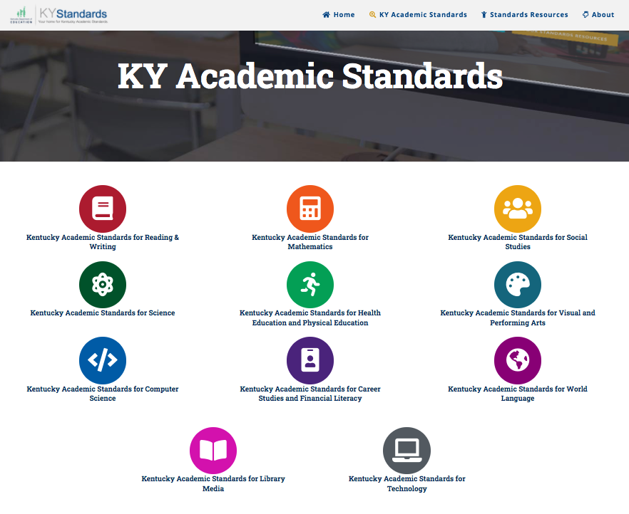 KY Academic Standards webpage