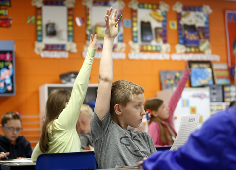 This is a picture of elementary students raising their hands in a classroom.