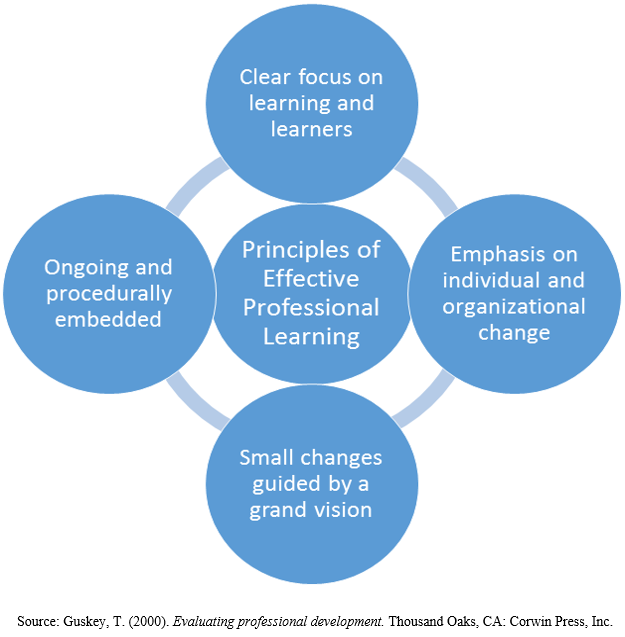 Principals of effective PL include: clear focus, emphasis on change, small changes guided by vision, ongoing and embedded